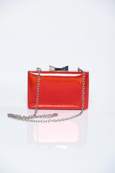 Red elegant bag metallic chain accessory