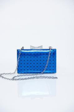 Blue occasional bag with metallic aspect