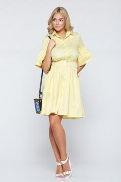 Cloche PrettyGirl yellow daily dress bell sleeves