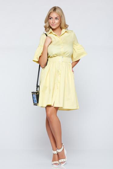 Cloche PrettyGirl yellow daily dress bell sleeves