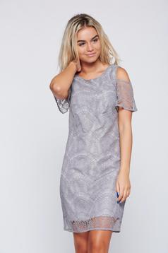 Top Secret lightgrey laced dress with both shoulders cut out