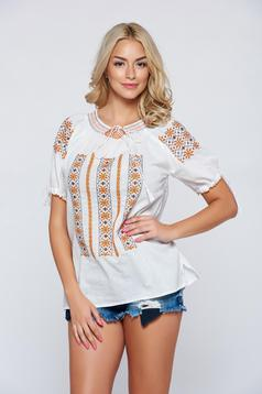 Brown embroidered women`s cotton blouse