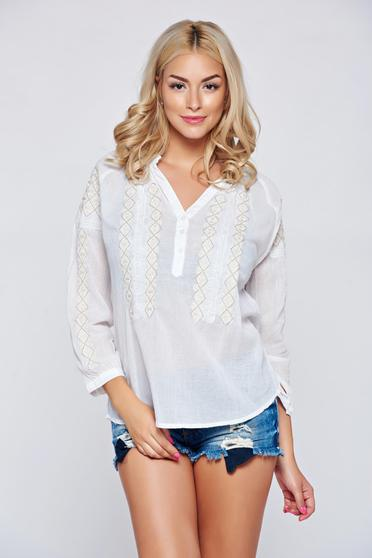Easy cut cream embroidered women`s blouse cotton blouse