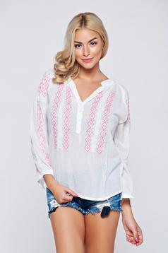Easy cut rosa embroidered women`s blouse cotton blouse