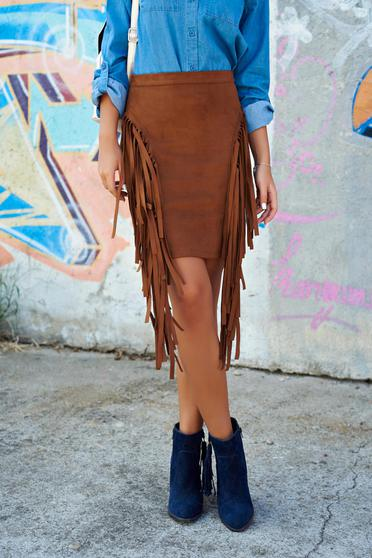 Ioana grama by StarShinerS brown velour skirt with fringes