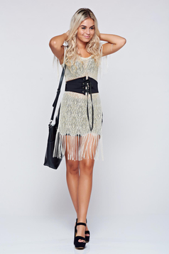 Festival look by StarShinerS gold laced top shirt with fringes
