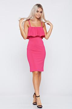 StarShinerS pink pencil dress with braces with ruffles on the chest