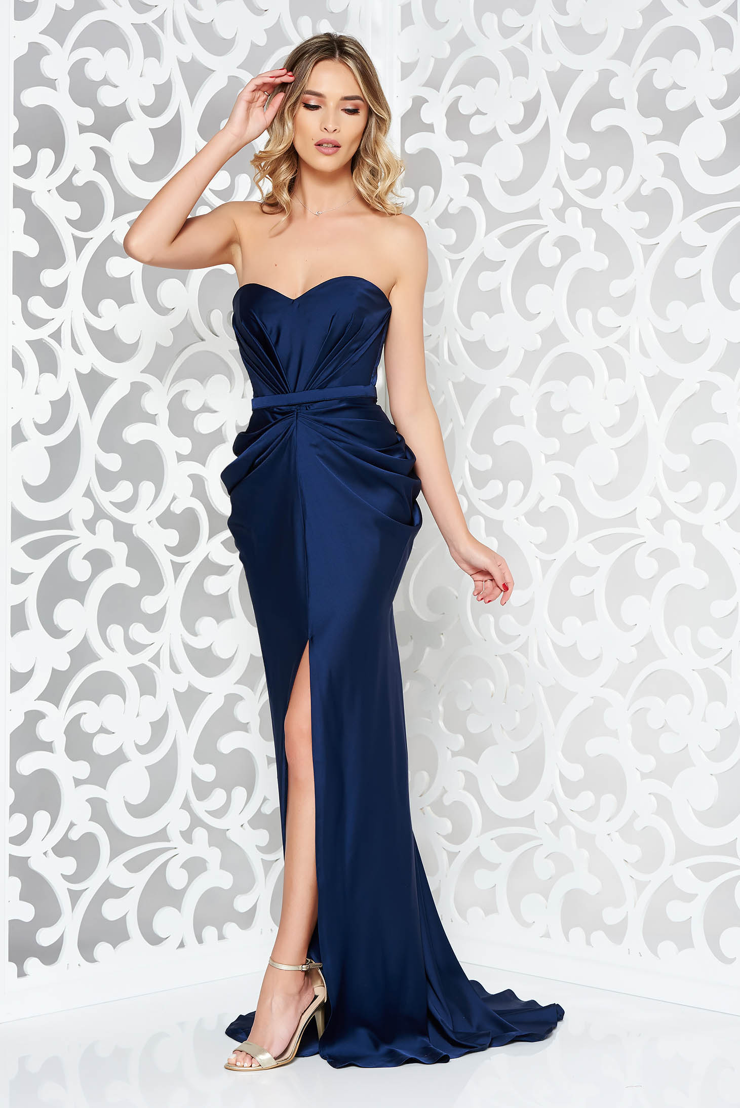 Ana Radu luxurious off shoulder dress from satin fabric texture with push-up bra accessorized with tied waistband darkblue