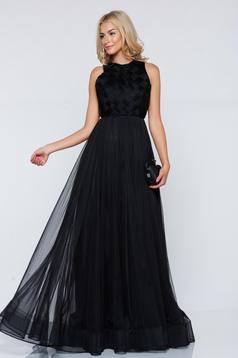 Ana Radu black evening long net dress