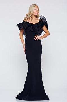 Occasional Ana Radu black long dress with ruffle details