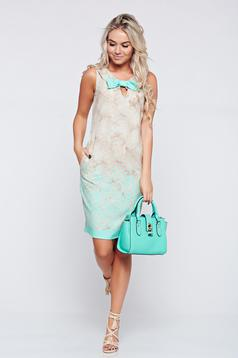 Fofy elegant lightgreen sleeveless dress with bow accessory