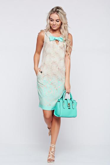 Fofy elegant lightgreen sleeveless dress with bow accessory