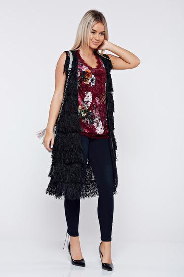 Ioana grama by StarShinerS black casual gilet with fringes
