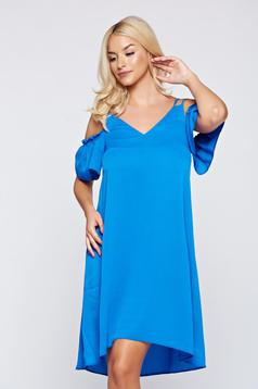 Top Secret blue easy cut dress with both shoulders cut out