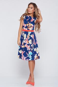 LaDonna cloche darkblue cotton dress with floral prints