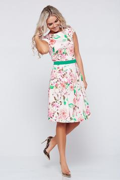 LaDonna cloche peach cotton dress with floral prints