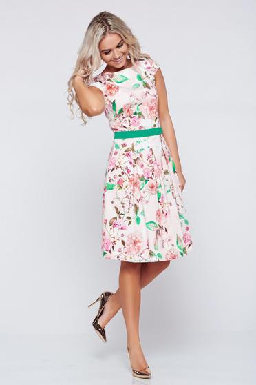 LaDonna cloche peach cotton dress with floral prints