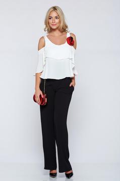 LaDonna black elegant sleeveless jumpsuit with ruffle details