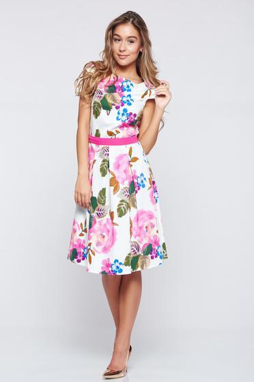 LaDonna cloche white cotton dress with floral prints