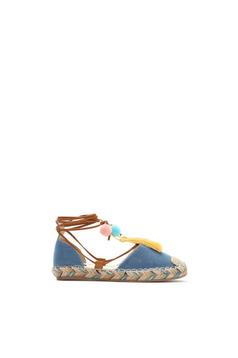 Blue light sole espadrilles with ribbon fastening