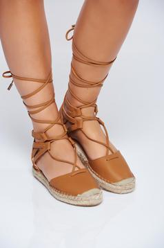 Brown light sole espadrilles ribbon fastening