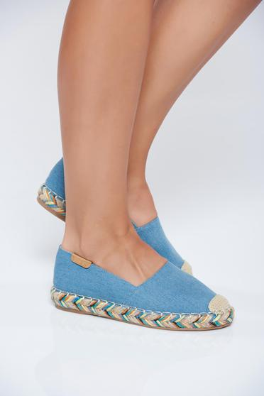Lightblue light sole espadrilles denim fabric