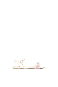 White low heel sandals with thin straps