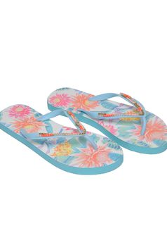 Top Secret turquoise slippers beach wear print details
