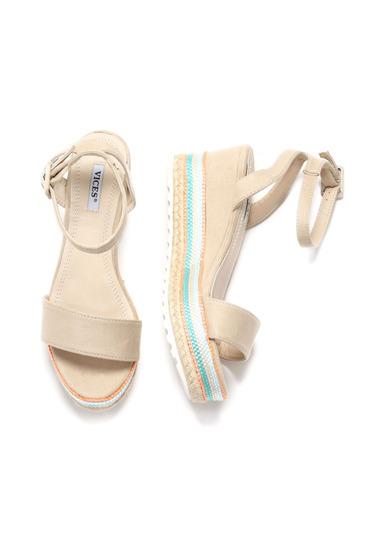 Cream sandals metallic buckle thin straps