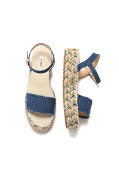 Darkblue casual sandals with metallic buckle