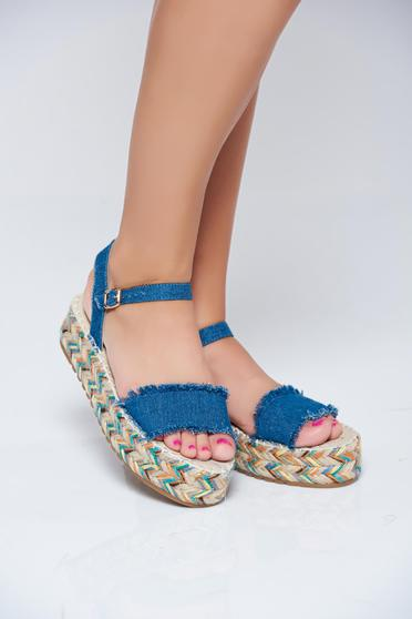 Darkblue casual sandals with metallic buckle