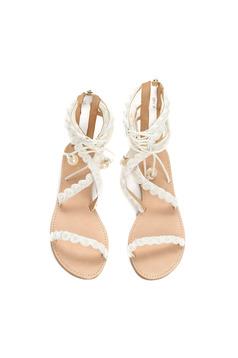 White low heel sandals pearl embellished details