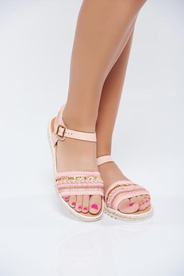 Pink sandals metallic buckle small beads embellished details