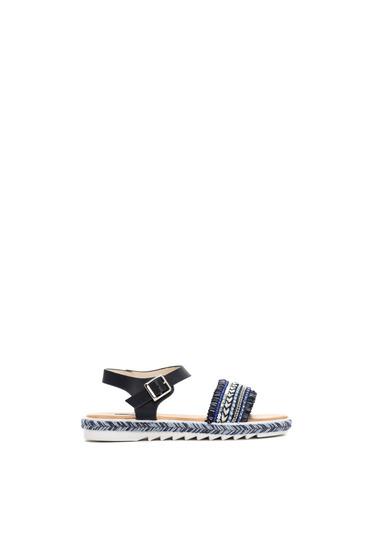 Darkblue sandals metallic buckle small beads embellished details