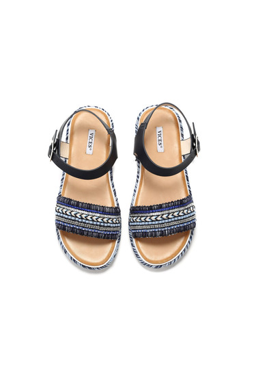 Darkblue sandals metallic buckle small beads embellished details