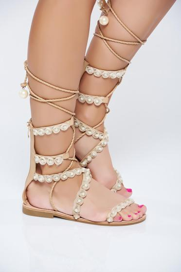 Cream low heel sandals pearl embellished details