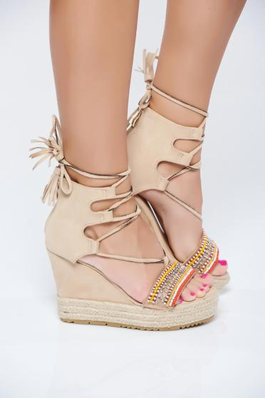 Cream sandals ribbon fastening small beads embellished details