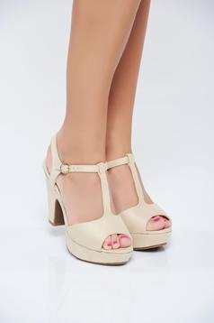 Cream high heels sandals thin straps