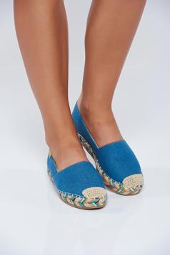 Blue light sole espadrilles from denim fabric