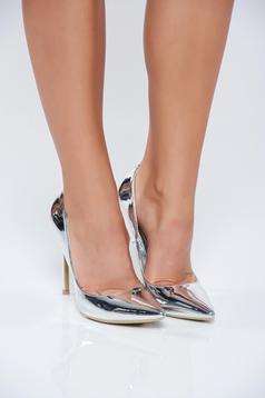 Silver elegant shoes metallic aspect high heels