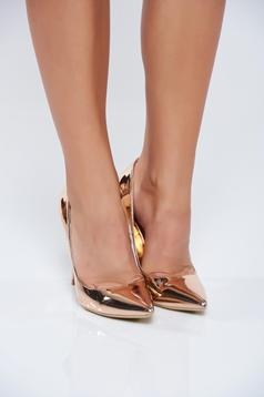 Rosa elegant shoes metallic aspect high heels