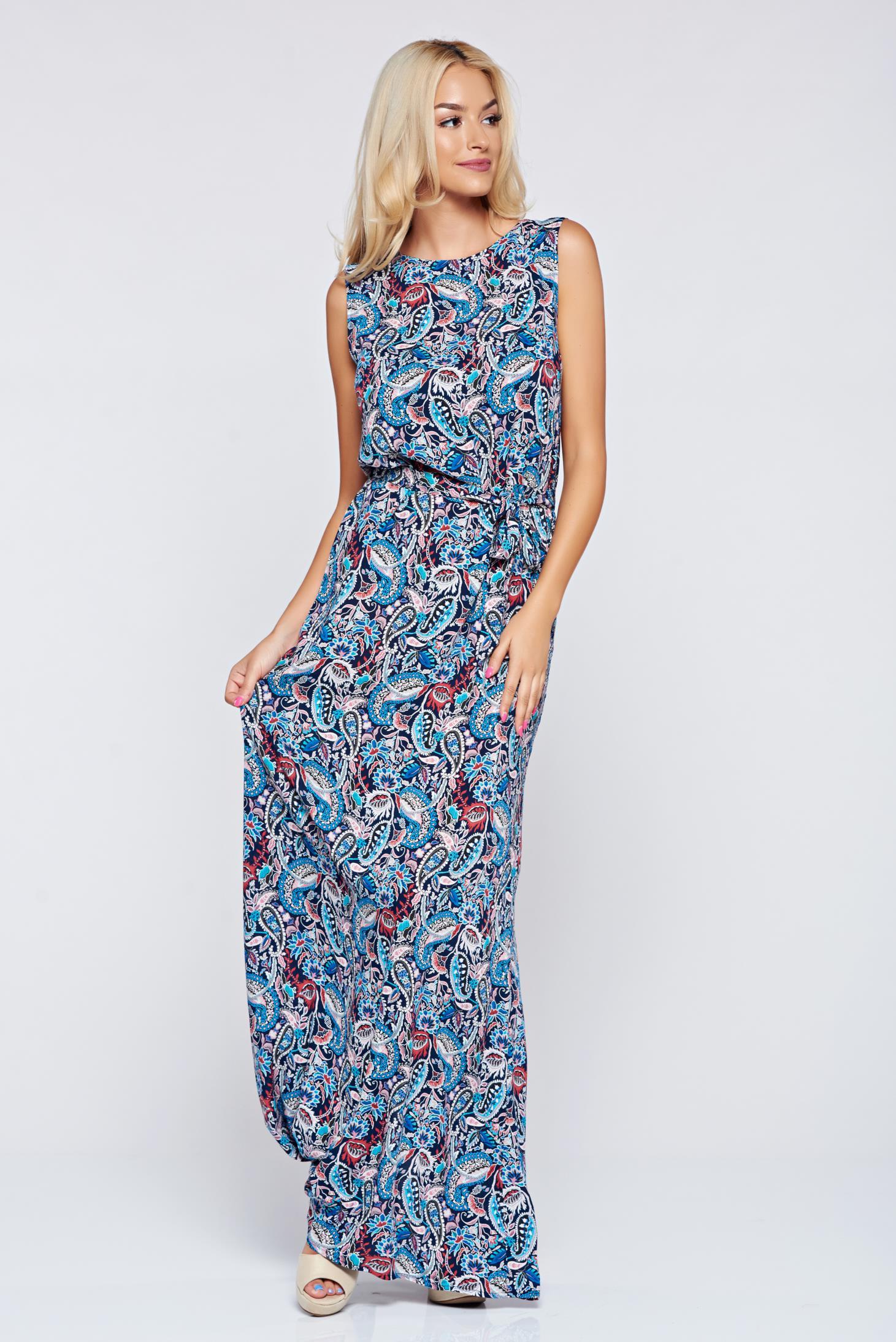 Rochie Top Secret albastru-inchis cu croi larg cu imprimeuri florale