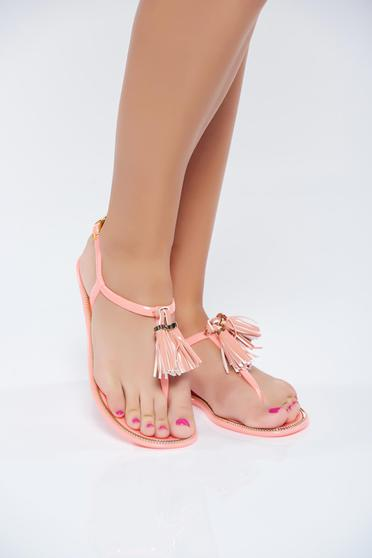 Orange casual low heel sandals has fringes