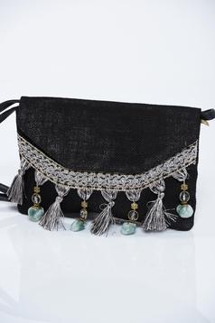 Black bag metal accessories has fringes