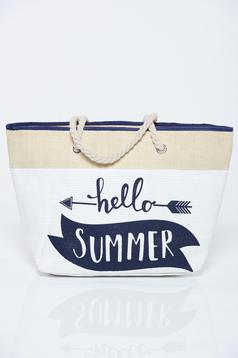 White bag with writing print and insole fabric textil