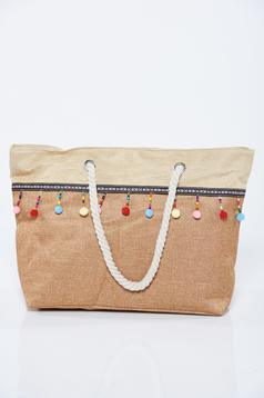 Cream bag with tassels small beads embellished details