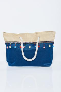 Blue bag with tassels amd small beads embellished details