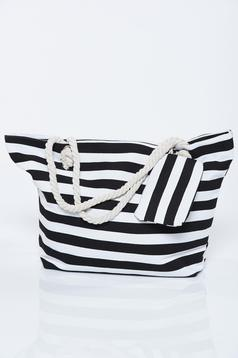 Black bag woven straps horizontal stripes