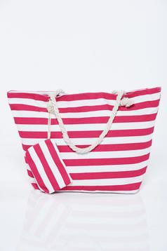 Pink bag woven straps horizontal stripes