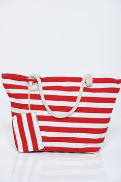 Red bag woven straps horizontal stripes